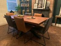 Oak Industrial Dining Table 6 Leather Chairs