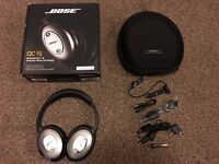 ONLY £150!! BOSE QUIET COMFORT 15 NOISE CANCELLATION HEADPHONES. WITH BLUETOOTH ADAPTER.