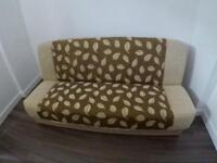 Double Sofa Bed brown and beige with click clack storage, like a NEW