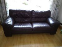 3 Seater Dark Brown Leather Sofa, Great Condition, Solid Frame