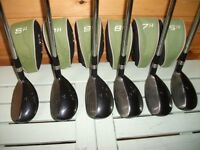 Left handed golf clubs Benross driver, six recovery type irons 6 to sand wedge & putter