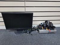"""full set of cctv camera +4 camera+4 cable+17"""" monitor+microphone+adapter"""
