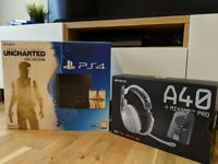 PS4 (500GB) + 5 games + Astro A40 headset (Ltd Edition white/orange). All Mint Condition in box.