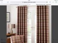 Highland check lined eyelet curtains in plum-brand new