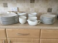 M&S square white plates and dishes.