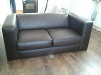 2 seater brown leather sofa, good condition