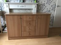 2 Door, 4 Drawer Sideboard/ Cupboard in light oak colour - very good condition