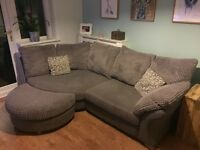 Grey DFS corner sofa, large swivel chair and footstool.