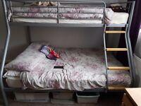 Bunk beds single top, double bottom