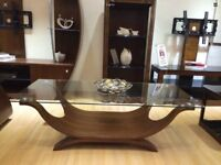 Coffee Table Walnut Veneer Wood Base Clear Glass Top Rectangle