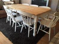 Amazing 6ft Shabby Chic Chunky Farmhouse Pine Table With Cultery Drawer and 8 Lovely Chairs