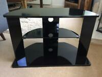 Tv stand / table - black gloss and glass shelf