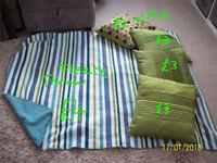 GREEN CUSHIONS,1 GREEN/STRIPED TEAL FLEECE THROW.1 GREEN FROG THROW