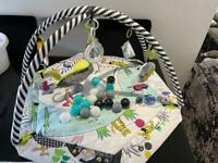 Baby play gym, musical bouncer chair and tummy time water play mat