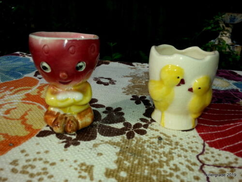 Vintage Strawberry Boy and Chicks Egg Cups  Easter