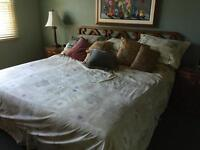 Wood handmade king bed including mattress and box spring