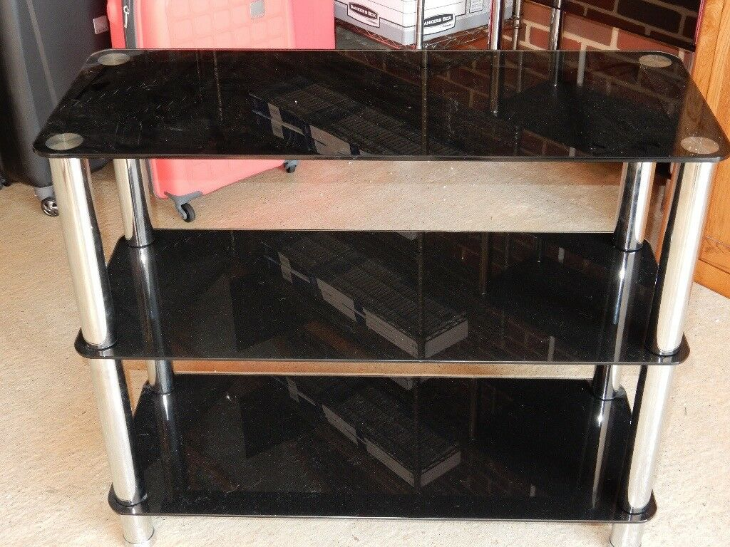 Black Glass Bookshelf With 3 Shelves