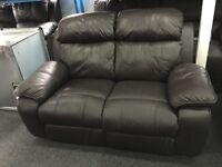 ScS NEW/Ex Display Brown/Black Leather 2 Seater Sofa