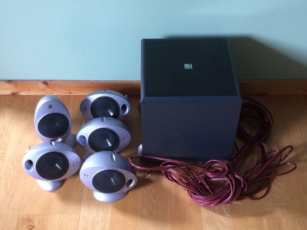 kef egg subwoofer. kef psw 2000 subwoofer + 5 hts 2001 egg satellite speakers kef o