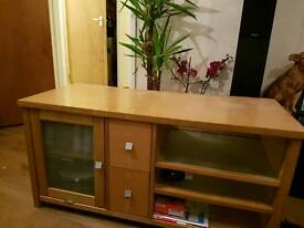 Tv unit with frosted glass door and shelfs