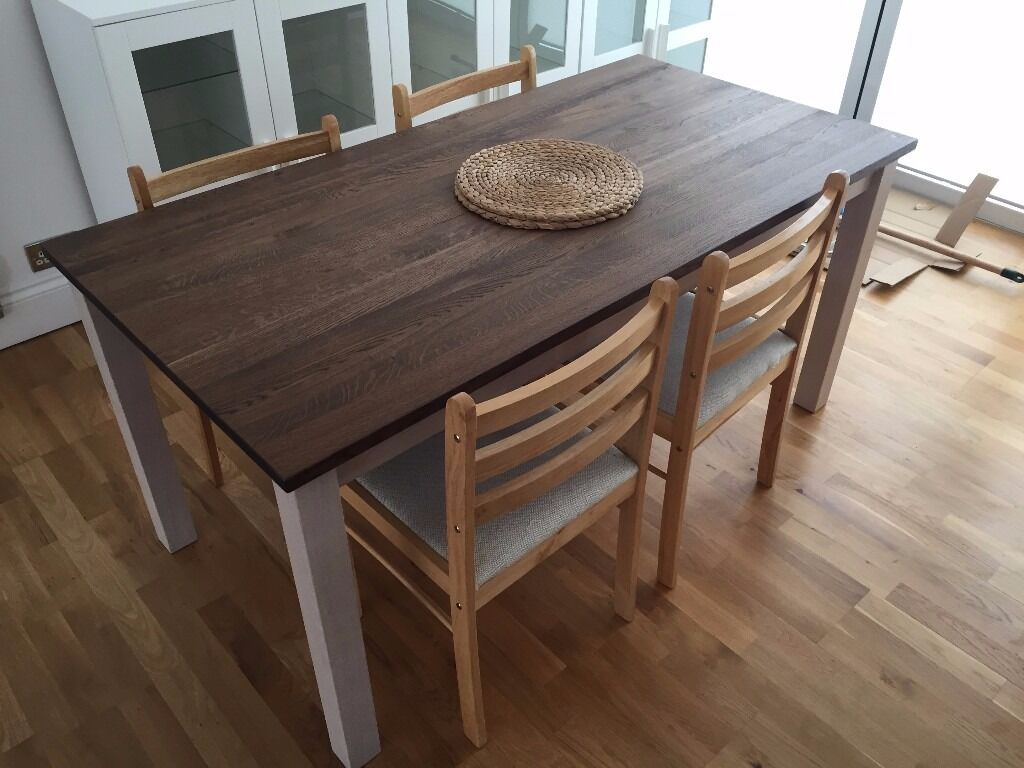 Ikea dinning table kejsarkrona oak white with 4 x wooden for Table in table