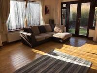Brown Suede Jumbo Cord Corner Sofa Good Condition