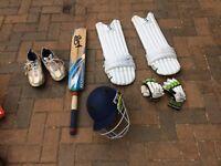 Cricket Bat/Hat/pads +gloves etc