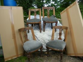 4 Edwardian Art Nouveau Dining Chairs in need of restoration.