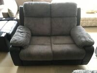 Brand New Designer Leather And Jumbo Cord 2 Seater Reclining Sofa
