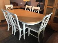 Ex-display white and oak extending table and 6 new chairs ONLY £600 BARGAIN!!!