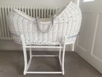 White Mothercare Moses Basket with stand, hardly been used