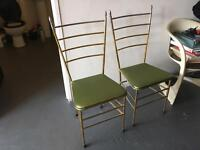 Pair of Vintage french 50s gilt chairs retro, modernist