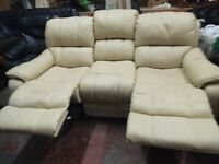 CREAM LEATHER RECLINER SETTEE AND RECLINER ARMCHAIR - USED BUT GREAT CONDITION