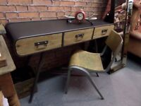 NEW Industrial Metal & Wood Desk Side Console Table - Delivery Available