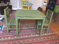 Kids Table and chairs - Green wood stain, bought from Ikea
