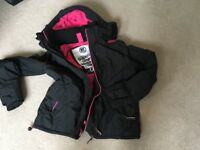 Super dry ladies black jacket with pink trim large so fits size 10