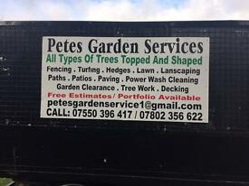 Pete's garden services tree surgeon all types of tree work top and shared