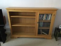 Solid oak bookcase with glass fronted display cabinet