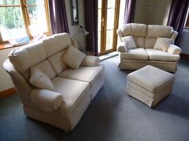 Two 2-Seater Settees + storage footstool;