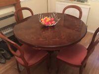 Italian inlaid dining table &4 balloon backed chairs - beautiful set!!