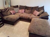 Grey corner sofa with foot stool