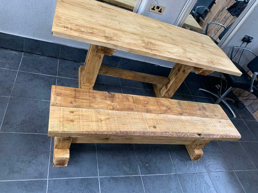 Rustic Reclaimed Chunky Farmhouse Kitchen Table And Benches In Crossgates West Yorkshire Gumtree