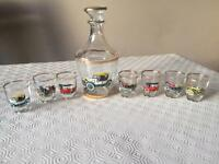 Glass decanter with 7 shot glasses - with cars on