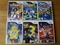 Wii Games (3 x Sonic Games / Spongebob / Toy Story / Cars