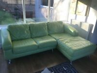 Lime Green leather sofa with swivel chair and foot stool