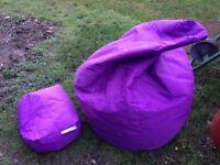 Big Bertha bean bag with footstool