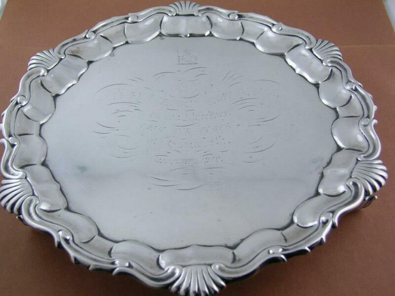 English Sterling Silver Salver JOSEPH & ALBERT SAVORY London c1840 knight crest