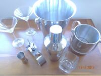 Cocktail Shaker, 2x Ice Buckets, Wine Stoppers, Measure, Marguerita Glasses and Jack Daniels tbler