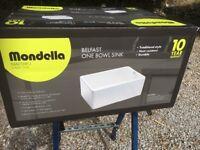 Belfast sink Mondella reversible. Still in box unopened. H 54.5. W45.5. D21. 5.