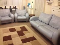 Leather 3 seater sofa and 2 chairs
